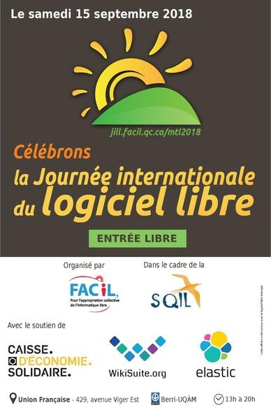Journée internationale du logicie libre (JiLL) 2018 à Montréal