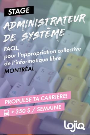 Affiche du stage en administration de systèmes chez FACiL